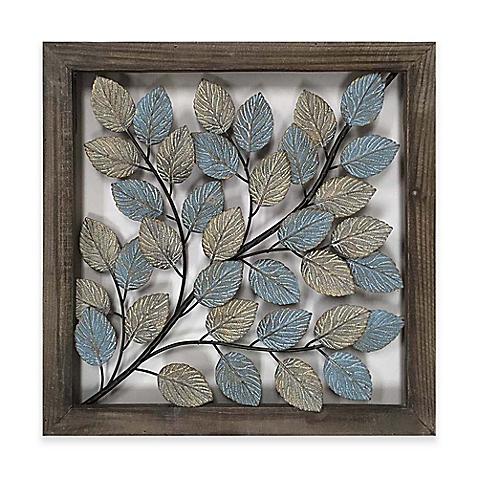 image of leaves metal wall art in blue u0026 cream ZTPYVXC
