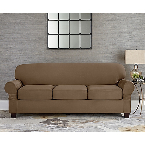 image of sure fit® designer suede individual cushion 3-seat sofa slipcover LXHTGPM