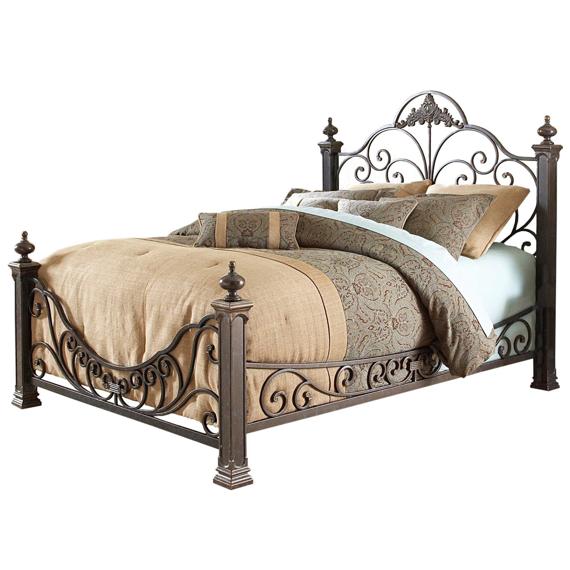 iron beds baroque iron bed ornate design glided slate finish DUIQQQS