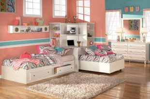 kid bedroom sets the furniture :: kids bedroom set with two twin beds and corner bookcase, KQEGQJV