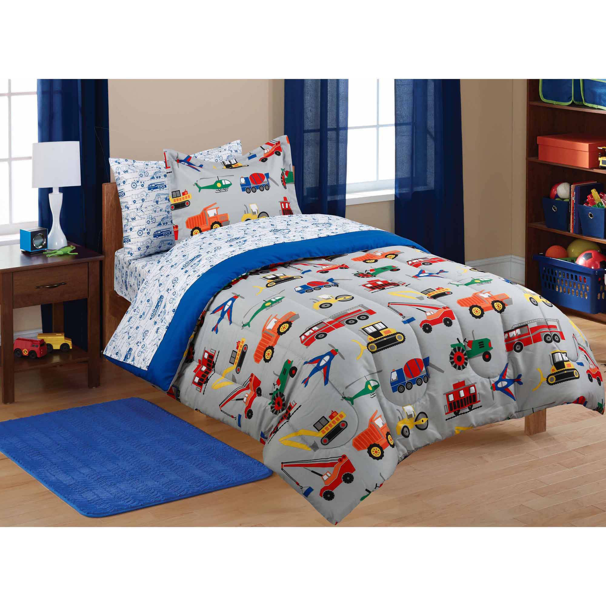kids bedding mainstays kidsu0027 transportation coordinated bed in a bag - walmart.com WPERISL