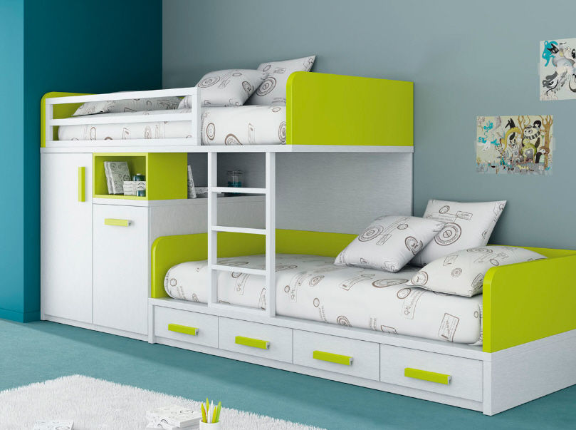 kids beds with storage for a tidy room : extraordinary white green bunk PWOCGQI