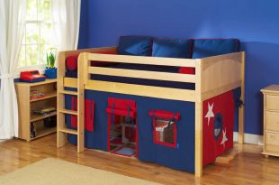 kids loft beds play fort low loft bed by maxtrix kids (blue/red on natural) (300.1) EJYJWRH