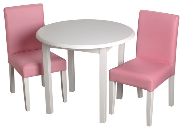 Kids table and chairs gift mark childrens white round table with 2 pink upholstered chairs  contemporary-kids-tables DDLSKSD