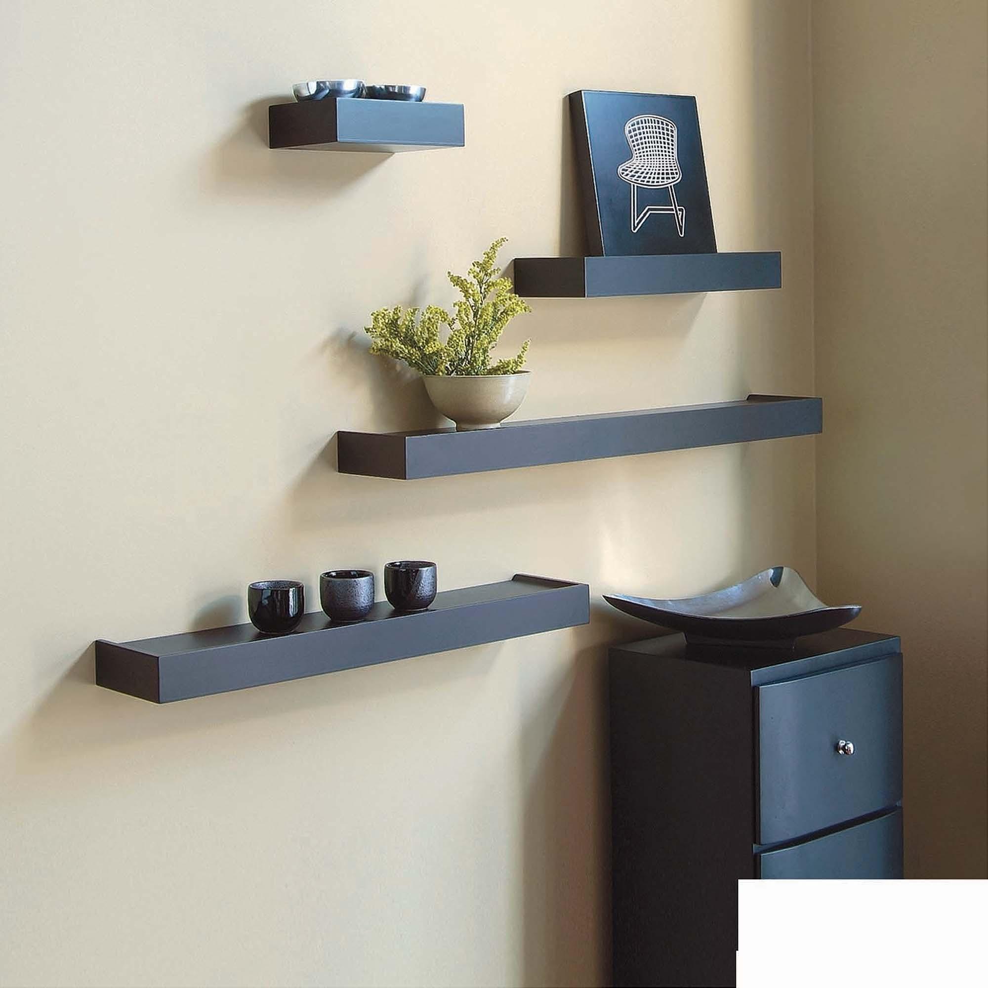 kiera grace vertigo set of 4 black wall shelves, 6 NAWUVXS