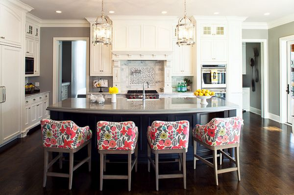 kitchen bar stools ... view in gallery the bold floral print on the bar stools ... DOIFVZQ
