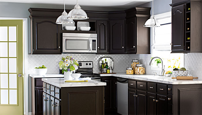 kitchen color ideas kitchen color scheme with dark cabinets, white tile and apple green door. CPNKPMH