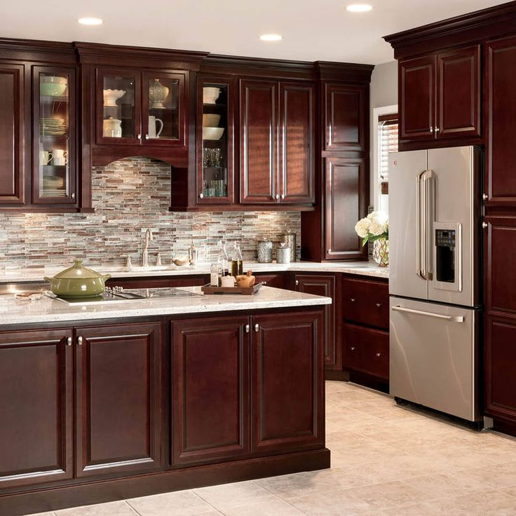 kitchen cupboards shop shenandoah bluemont 13-in x 14.5-in bordeaux cherry square cabinet  sample at PAYXAOJ