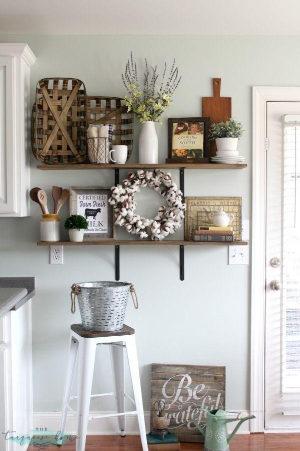 kitchen decor decorating shelves in a farmhouse kitchen VIUTQNJ