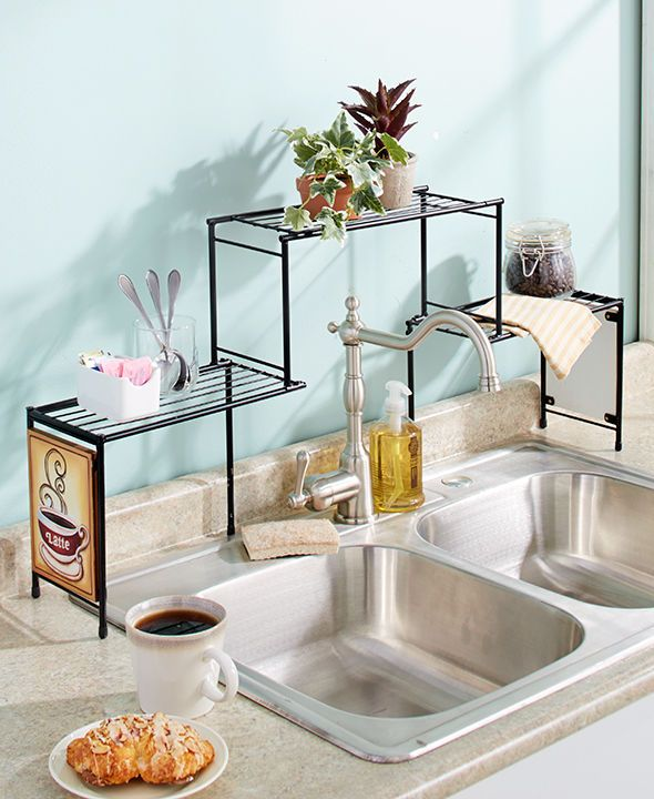 kitchen decoration over the sink rack shelf coffee themed kitchen decor fits tall faucets DYESFIJ