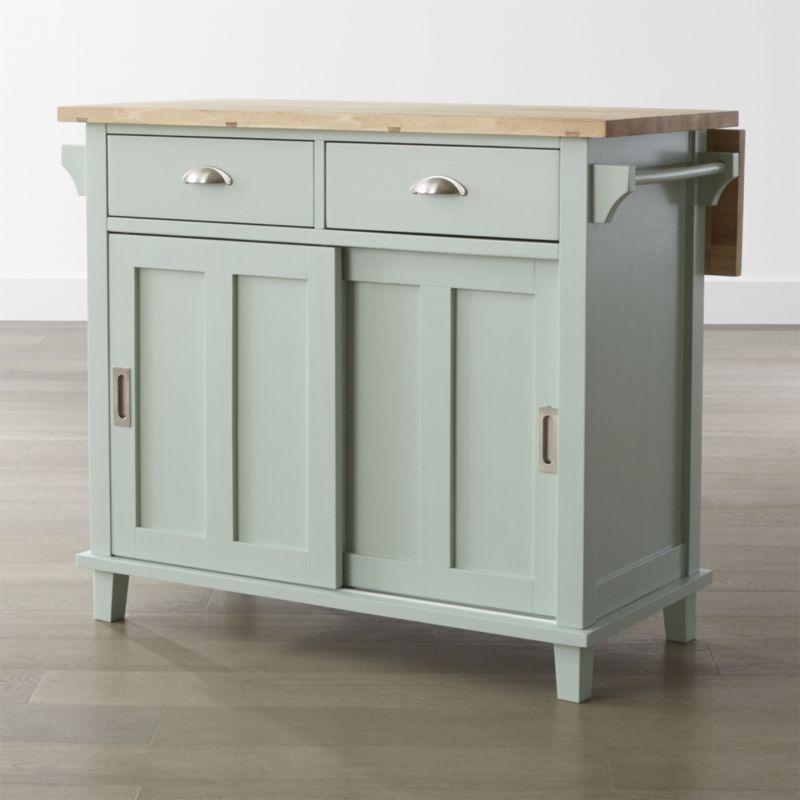 kitchen island cart belmont mint kitchen island | crate and barrel FBUPKRH