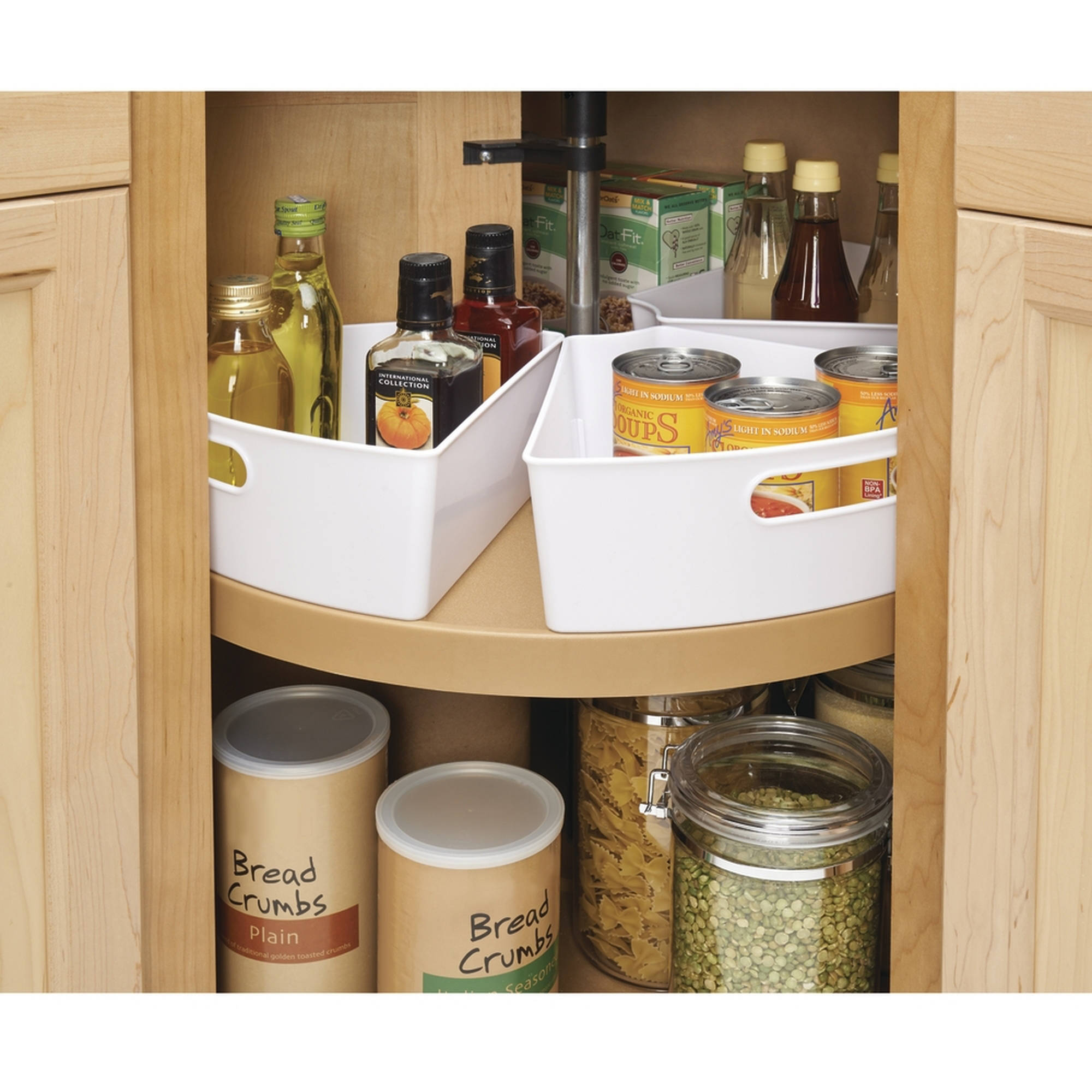 kitchen organizers interdesign lazy susan kitchen cabinet organizer storage binz, 1/6, white RIHUJNL