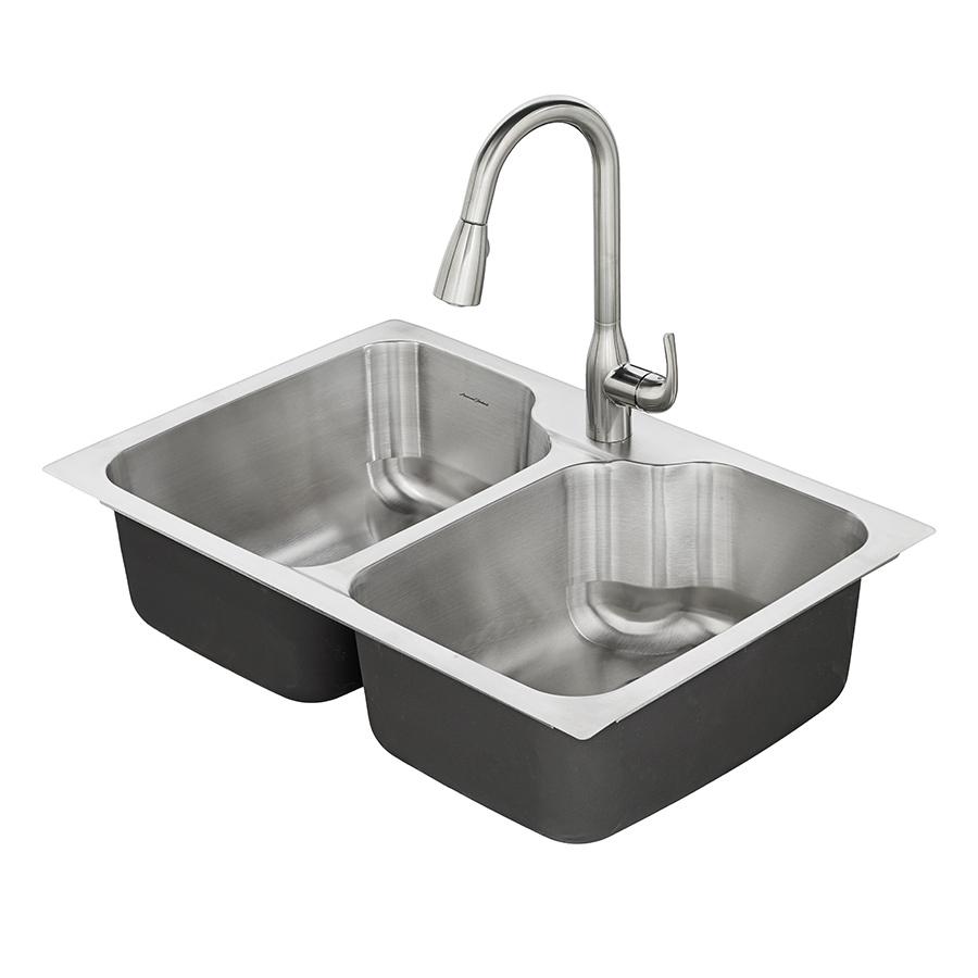 kitchen sink american standard tulsa 33-in x 22-in double-basin stainless steel drop QKSTXHA