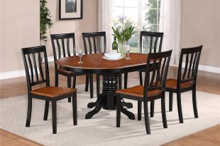 kitchen tables sets details about 7-pc oval dinette kitchen dining set table w/ 6 wood seat NKCTGRM