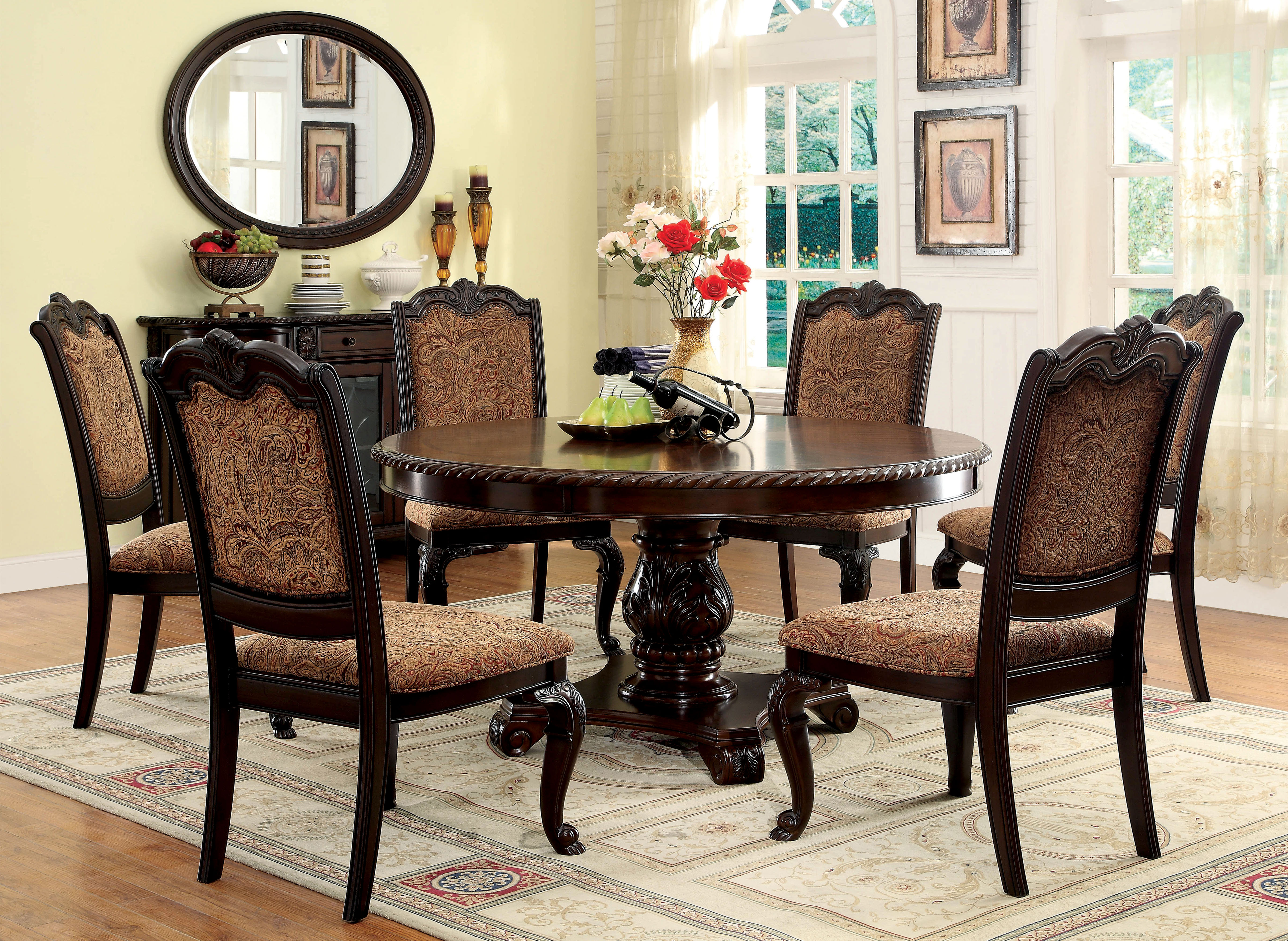 kitchen tables sets furniture of america brown cherry georgetown 7-piece formal round dining set FFIHYEG