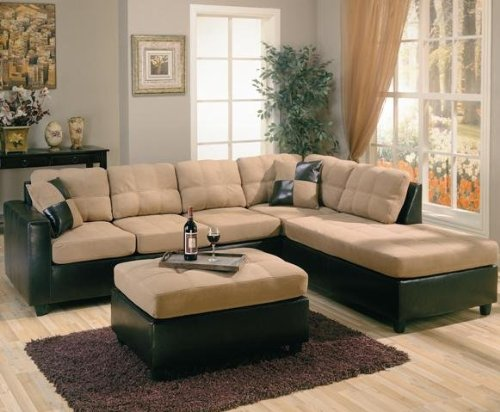 l shaped couch amazon.com: harlow right l-shaped two tone sectional sofa by coaster  furniture: kitchen OMKADIB