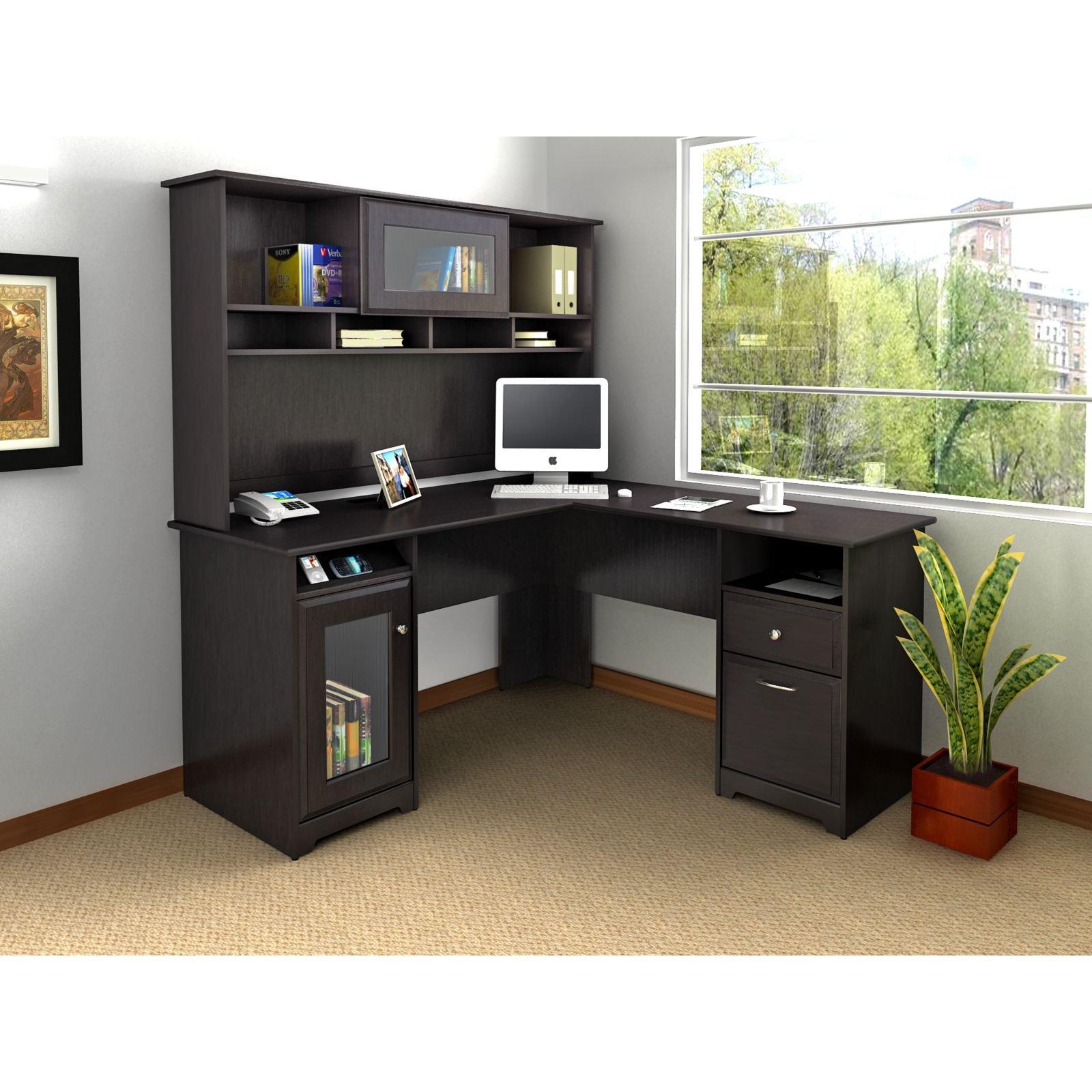 L shaped desk bush cabot l-shaped desk with optional hutch - desks at hayneedle XKHTLQB