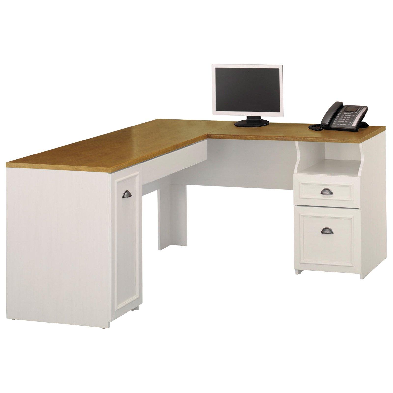 L shaped desk bush fairview l-shaped computer desk with optional hutch - antique white - WEVNUMH