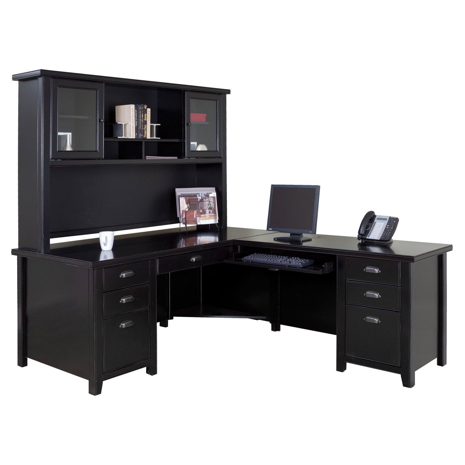 L shaped desk riverside bridgeport l-shaped computer desk with optional hutch - desks at  hayneedle MPUAJSP