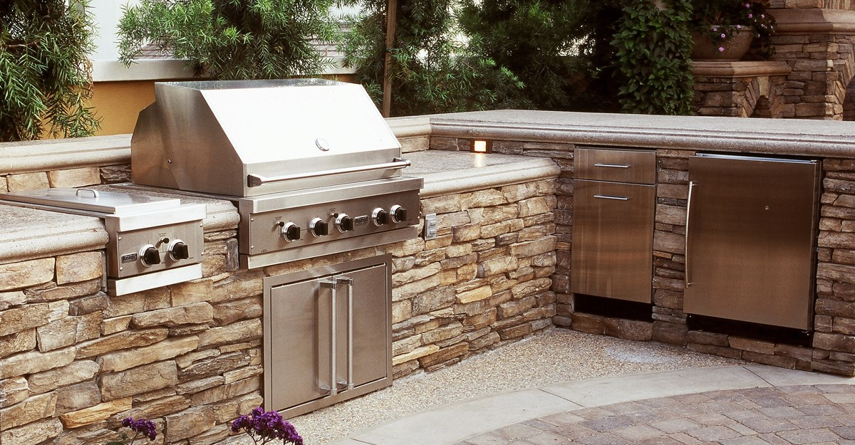 l shaped, split level outdoor kitchens the green scene chatsworth, ca RDSRUAZ