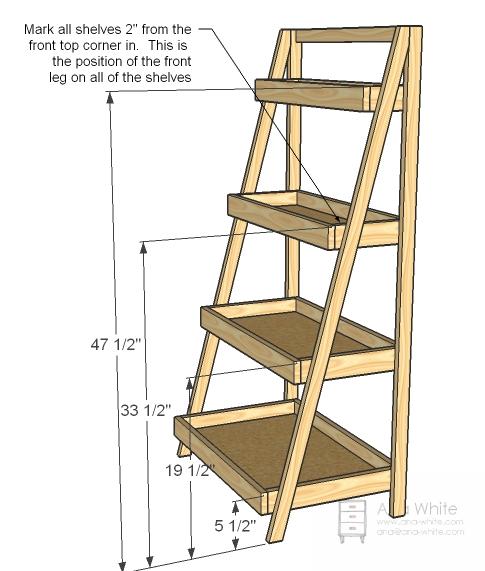 ladder shelves ana white | painteru0027s ladder shelf - diy projects ESPPXOM