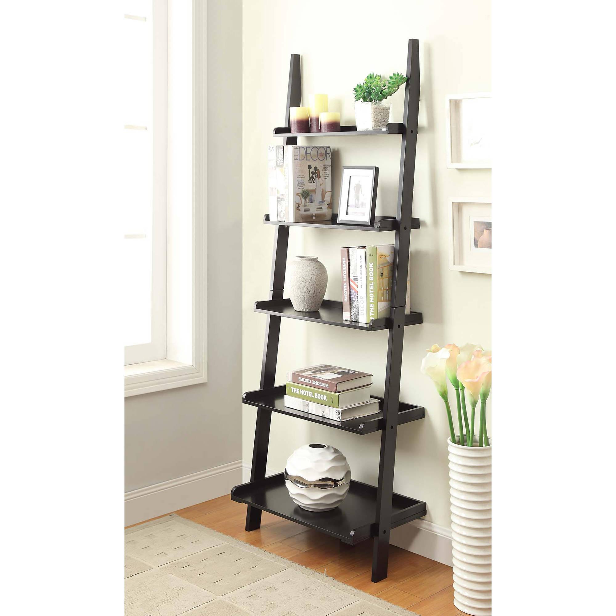 ladder shelves convenience concepts american heritage 5-shelf ladder bookcase, multiple  finishes - walmart.com QZUCAEL