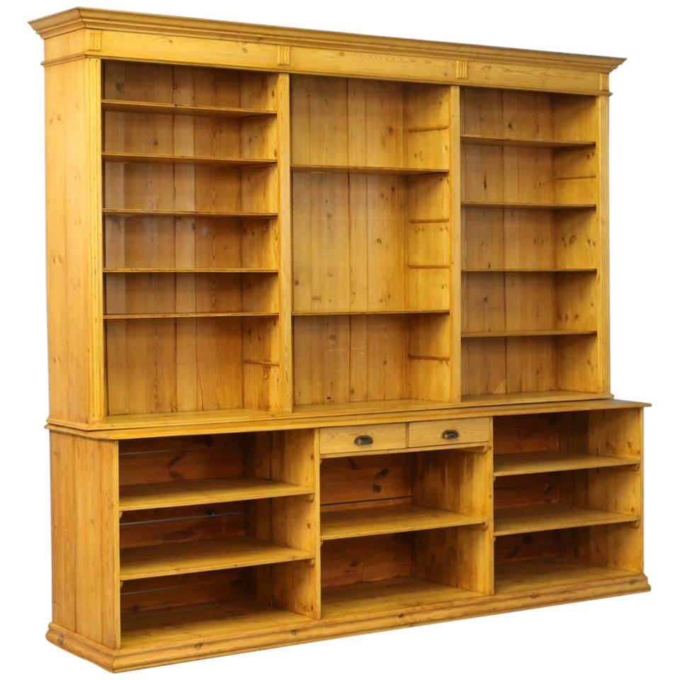 large bookcase large antique pine bookcase wall unit, denmark circa 1880 OCDLOLO