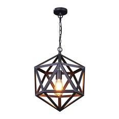 lb lighting - iron cage pendant light, matte black, small - pendant lighting XUFIRGH