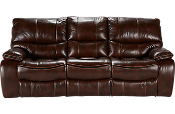 leather sofas cindy crawford home gianna brown leather reclining sofa POGGBVZ