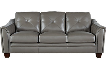 leather sofas cindy crawford home marcella gray leather sofa EMUGFLC