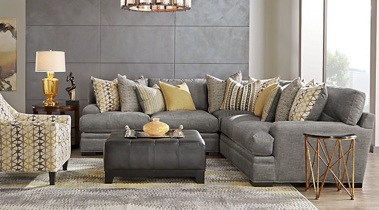 living room furniture cindy crawford home palm springs gray 3 pc sectional DZTHZMQ