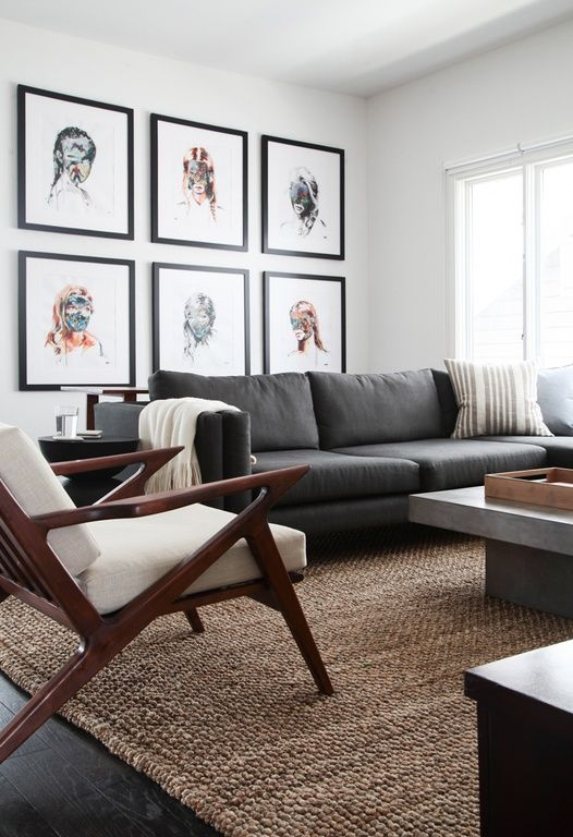 living room rugs modern living room with jute rug, midcentury modern armchair, hardwood  floors, modrest HBHEQOH