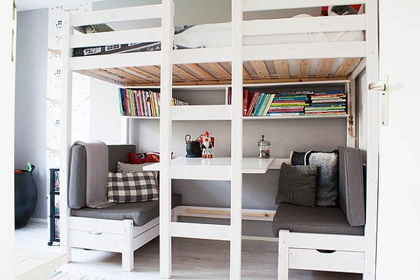 loft beds with desk view in gallery a great work area and conversation nook under the loft AGKEPDF