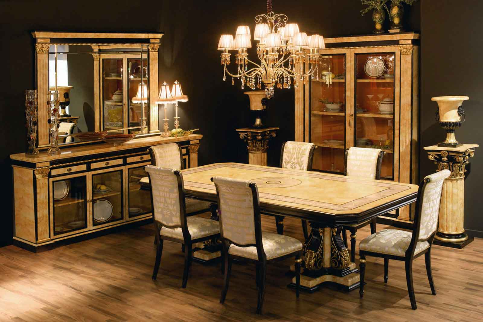 luxury furniture or2145 - sideboard mod.24143/14 of 232x50x101 finished marbled, black and  gold VEWWLBU