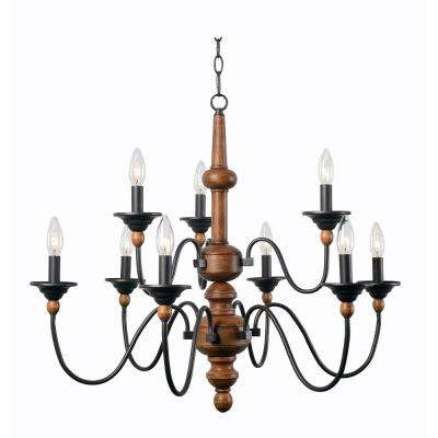 madeline 9-light wood chandelier KBUFNWA