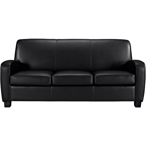 mainstays faux leather sofa, black - walmart.com BNFLDBV