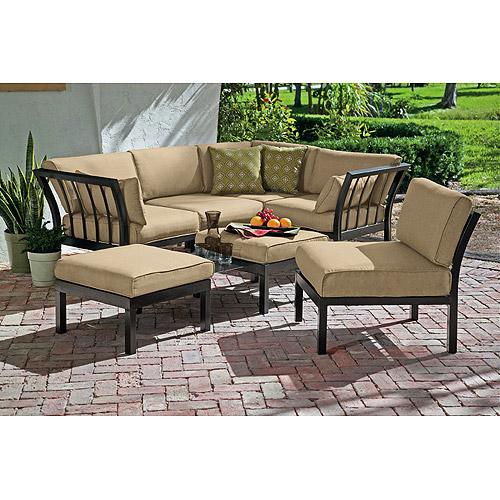 mainstays ragan meadow ii 7-piece outdoor sectional sofa, seats 5 USSQMKI
