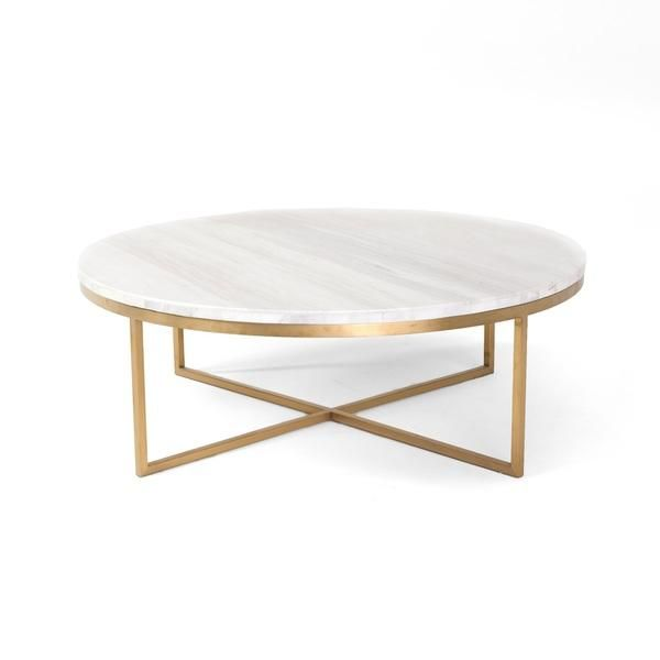 marble coffee table white round marble gold base coffee table PQRZMNZ