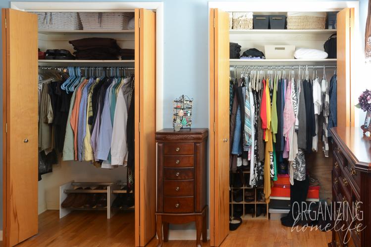 master bedroom closet organization before YOCNORG