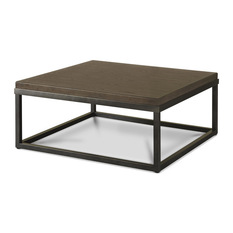 metal coffee table french industrial oak wood + metal square cocktail table, brownstone - coffee PWSOZDO