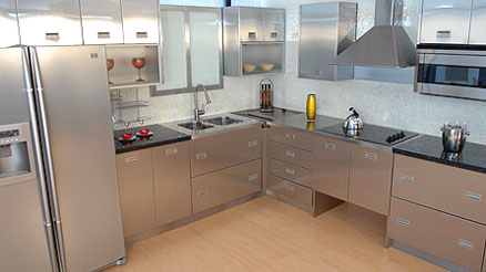 metal kitchen cabinets and appliances made of stainless steel EGXQNWI