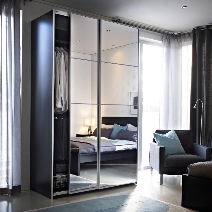 mirror wardrobe auli portes coulissantes, 2 pièces, miroir EZUYQNP