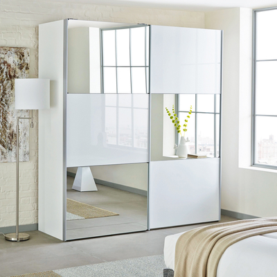 mirror wardrobe loft two door sliding wardrobe white glass with mirror EYJHPQI