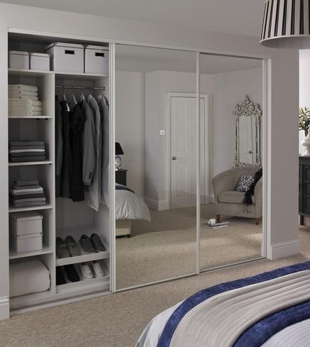 mirror wardrobe white edge mirror door TFZMQLV