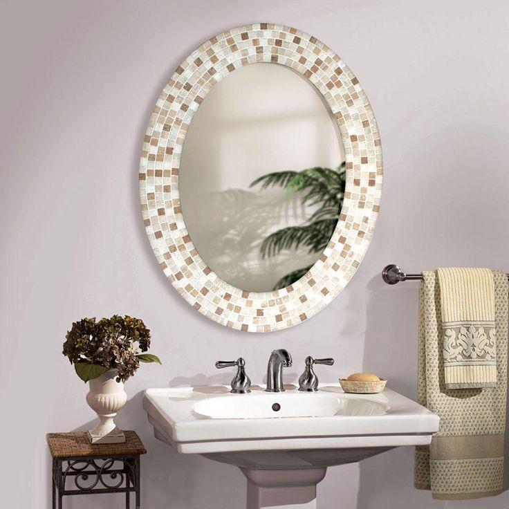 mirrors for bathrooms travertine mosaic oval - bathroom mirror YBGYPAF