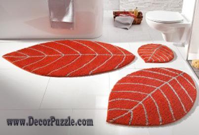 modern bathroom rug sets and bath mats 2017, orange bathroom rugs and YKDDXOU