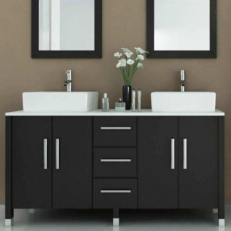modern bathroom vanities black painted wooden double vanity mixed white porcelain vessel sink and  twin ZFJVRRA