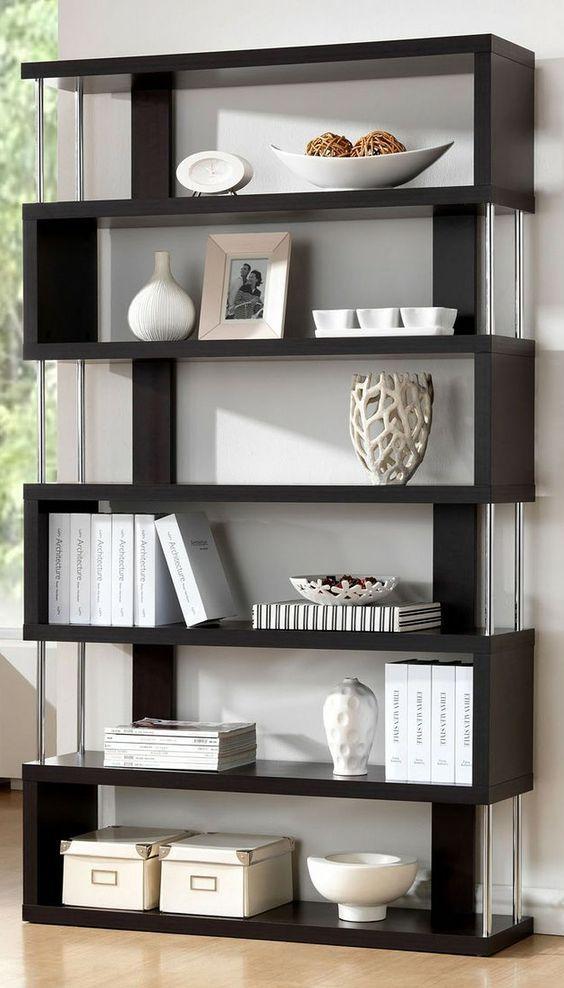 modern bookcases barnes dark wenge 6 shelf modern bookcase: LLIWYQE