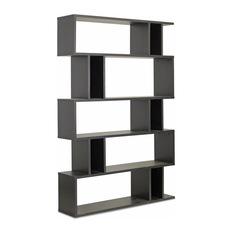 modern bookcases baxton studio - baxton studio goodwin 5, level dark brown modern bookshelf HIEYWQB
