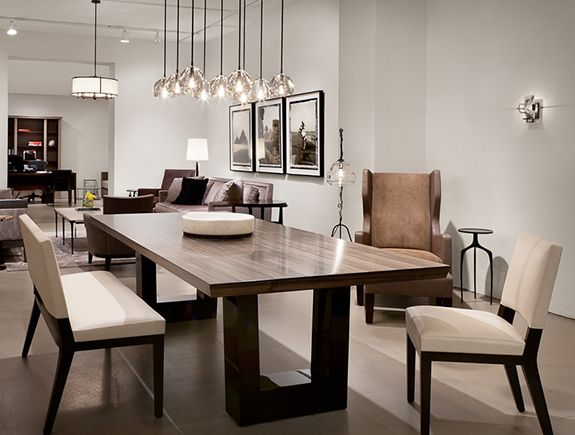 modern dining room contemporary dining room. love the modern wood dining table, the chandelier  lighting YZYIIQF